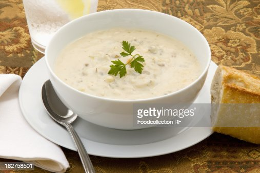 Chicken and wild rice chowder in bowl