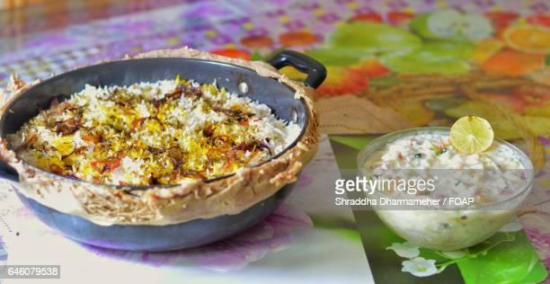 Chicken biryani served with salad
