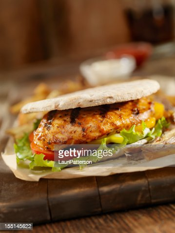 BBQ Chicken Breast Burger : Stock Photo