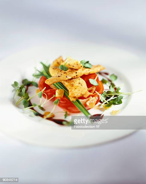 Chicken breast with red peppers and cress, close up