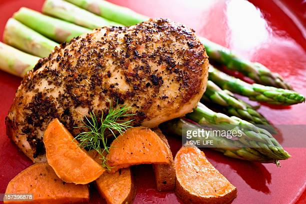 A chicken breast with sweet potatoes on a red plate