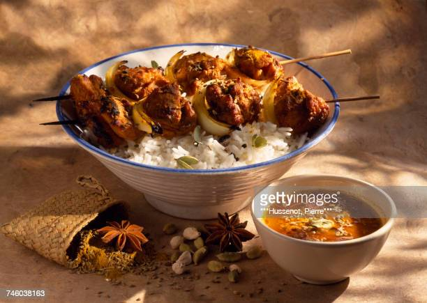 chicken brochettes with basmati rice