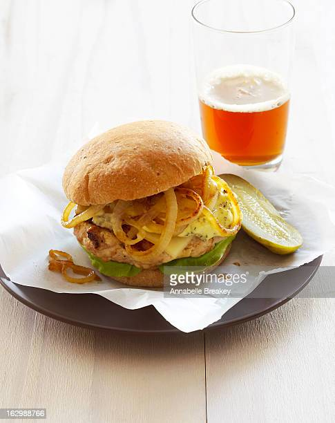 Chicken Burger and Beer