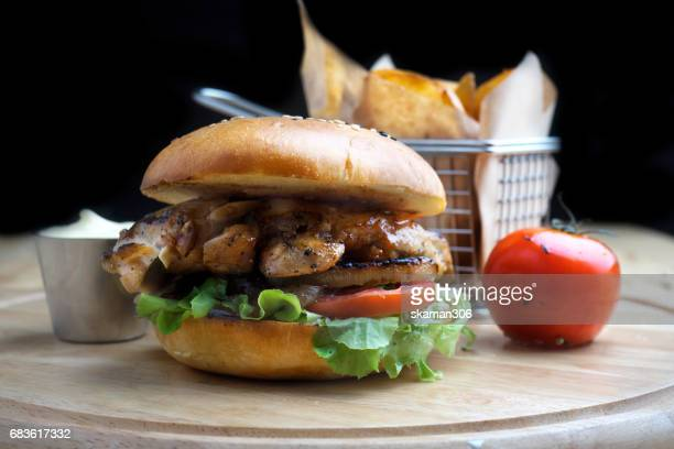 Chicken Burger cooking with french style on light and relax table