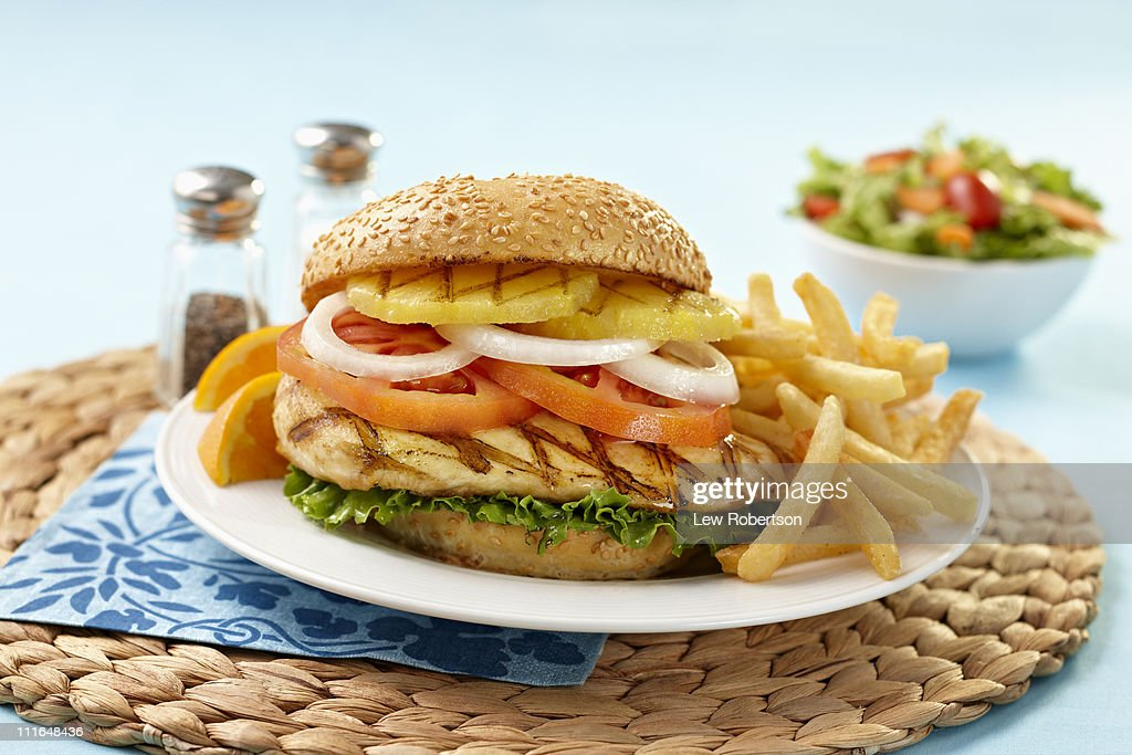 Chicken Burger with pineapple : Stock Photo
