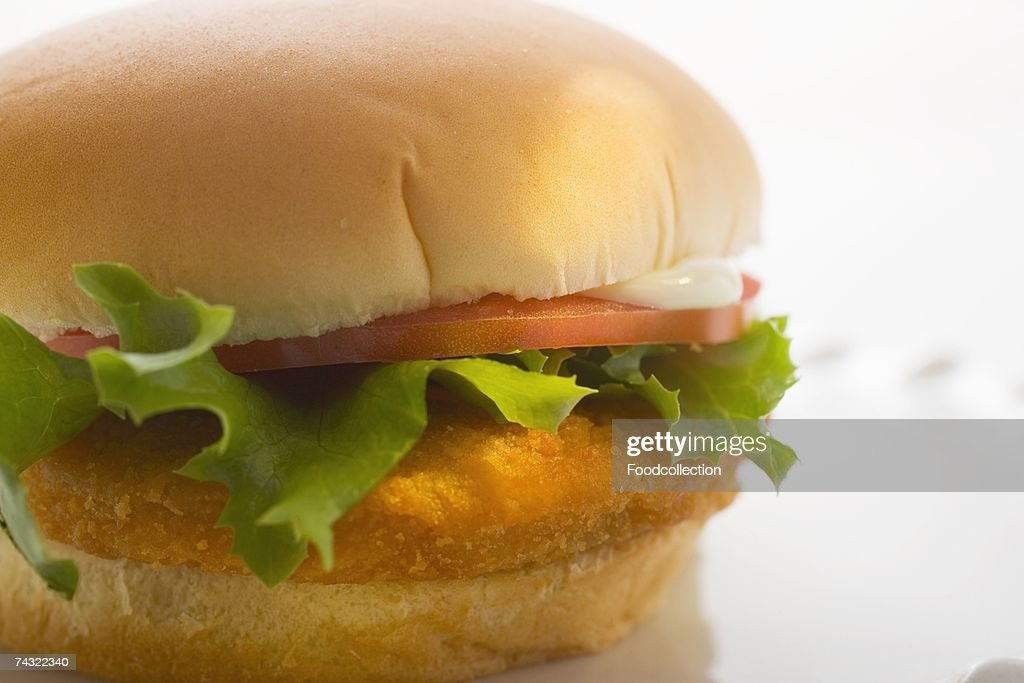 Chicken burger with tomato, mayonnaise and lettuce : Stock Photo