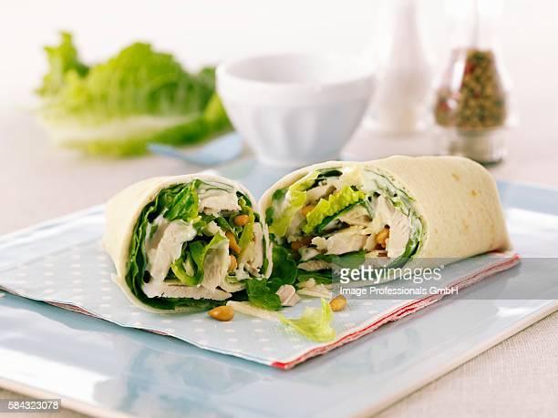 Chicken Caesar Salad Wrap; Halved
