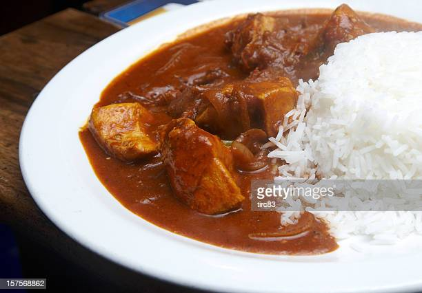 Chicken curry with boiled rice