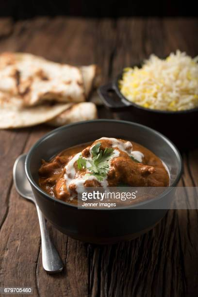 Chicken Curry With Naan And Rice.