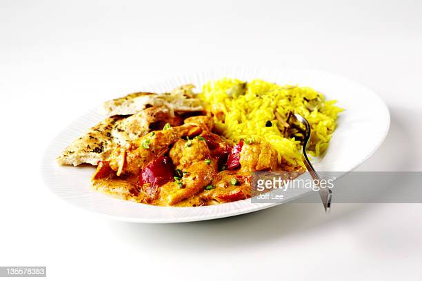Chicken curry with rice and naan bread