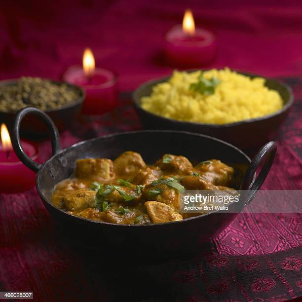 Chicken curry with saffron rice and lentil dahl