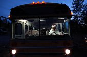 Chicken Driving a School Bus