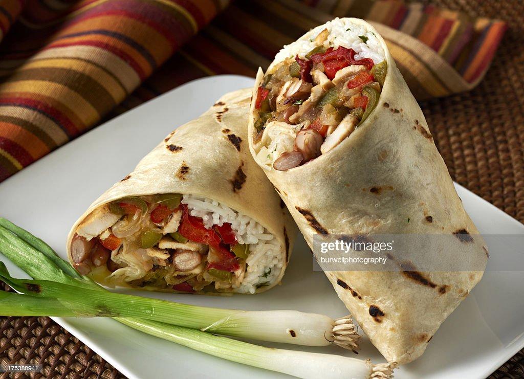 Chicken Fajita Wrap Sandwich or Burrito : Stock Photo