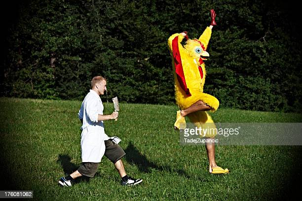 Chicken flying away from butcher