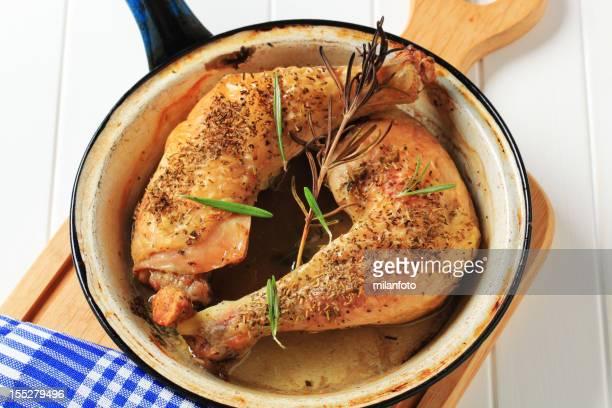 Chicken legs in a pan
