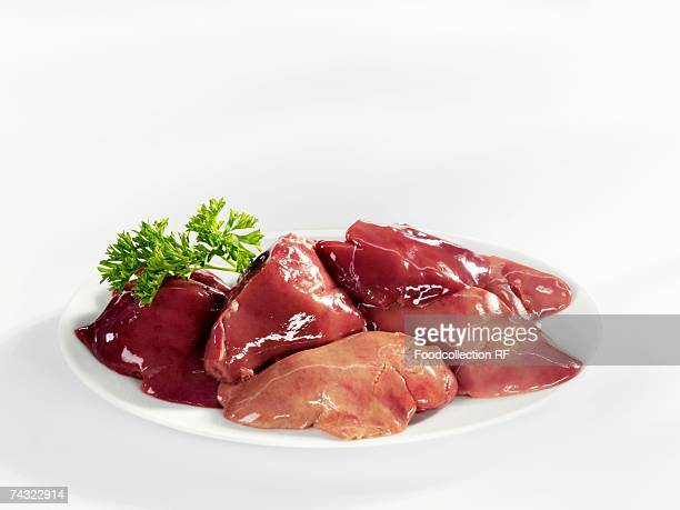 Chicken livers on a plate