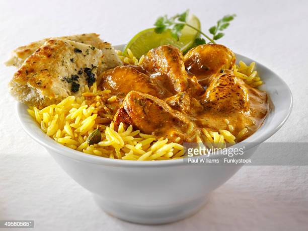 Chicken Masala, pilau rice and naan bread