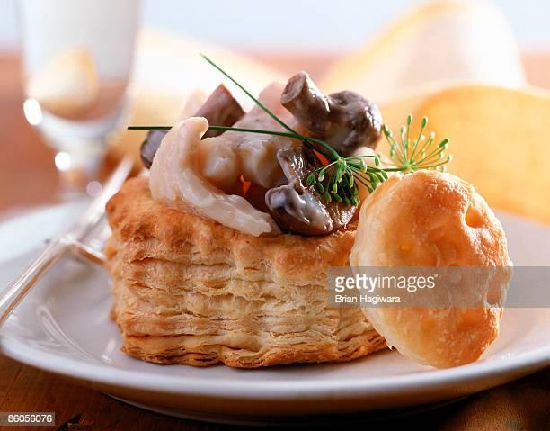 Chicken mushroom cream in puff pastry