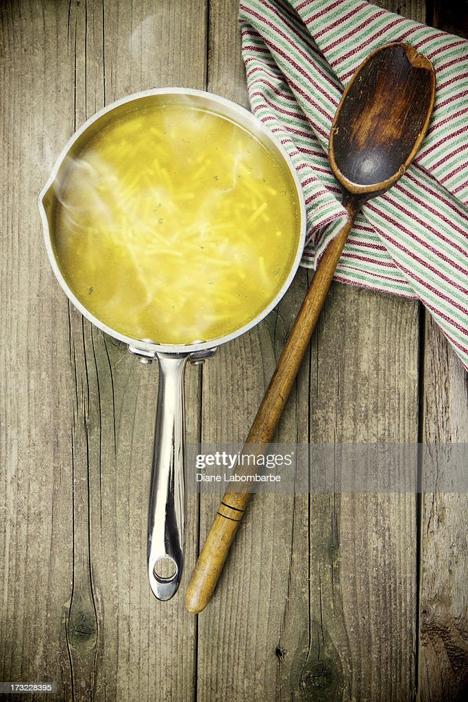 Chicken Noodle Soup On Old Wood Background : Stock Photo