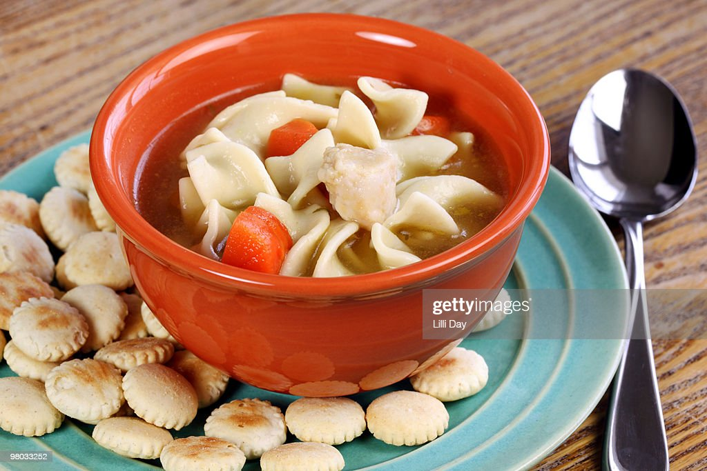Chicken Noodle Soup with Crackers : Stock Photo