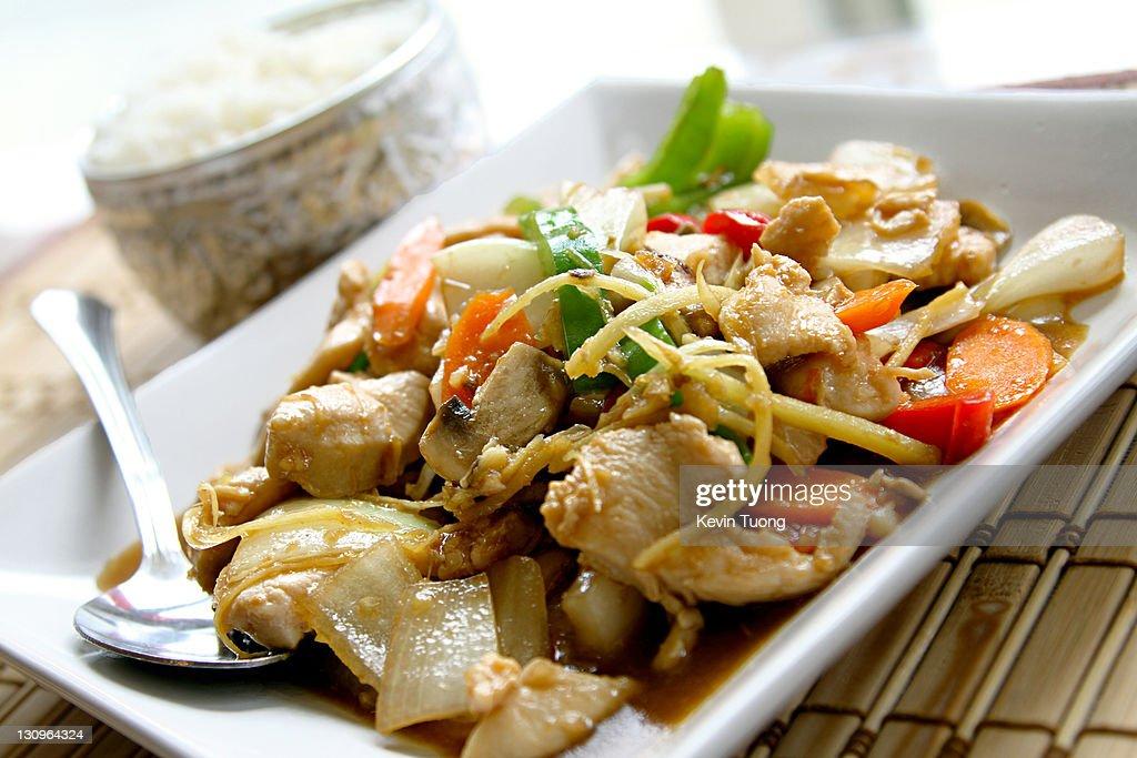 Chicken pad khing : Stock Photo