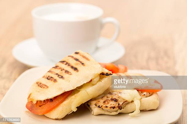 Chicken Panini sandwich and coffee