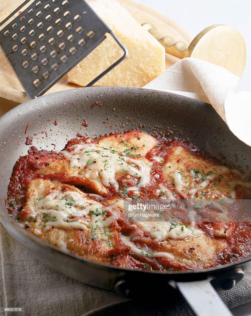Chicken Parmesan in frying pan