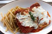 Creamy burrata mozzarella chicken parmesan dish