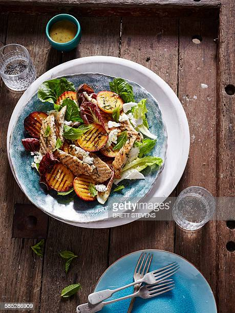 BBQ chicken, peach and cos lettuce salad