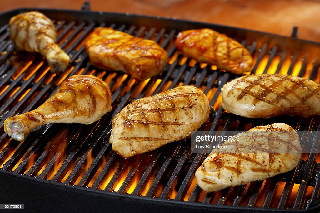 Chicken Pieces on Grill