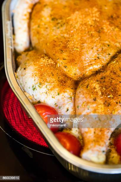 Chicken Prepared For Roasting on hot Electric Hob