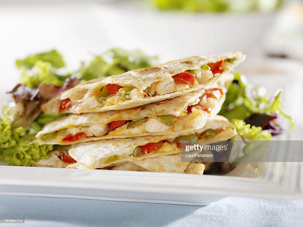 Chicken Quesadilla with a Garden Salad : Stock Photo