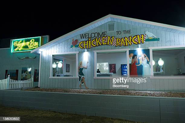 Chicken Ranch signage is displayed outside of the brothel in Pahrump Nevada US on Thursday Jan 26 2012 The Nevada Republican presidential caucus will...