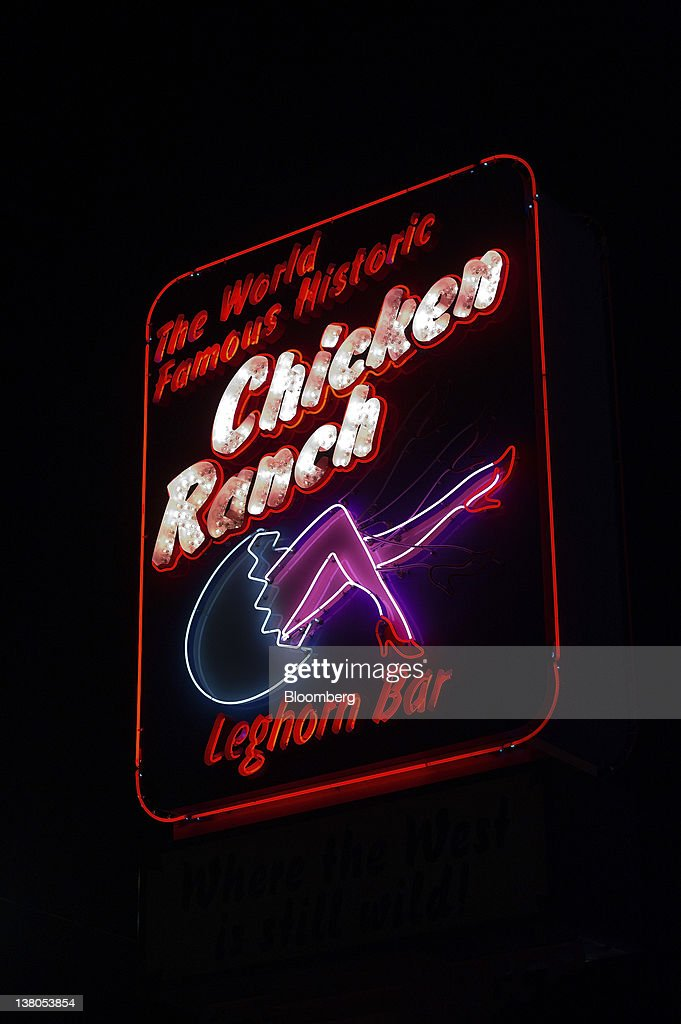Chicken Ranch signage is displayed outside of the brothel in Pahrump, Nevada, U.S., on Thursday, Jan. 26, 2012. The Nevada Republican presidential caucus will be held on Feb. 4. Photographer: David Paul Morris/Bloomberg via Getty Images
