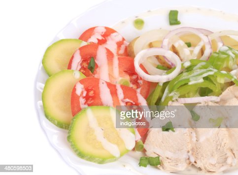 Chicken salad with potatoes. : Stock Photo