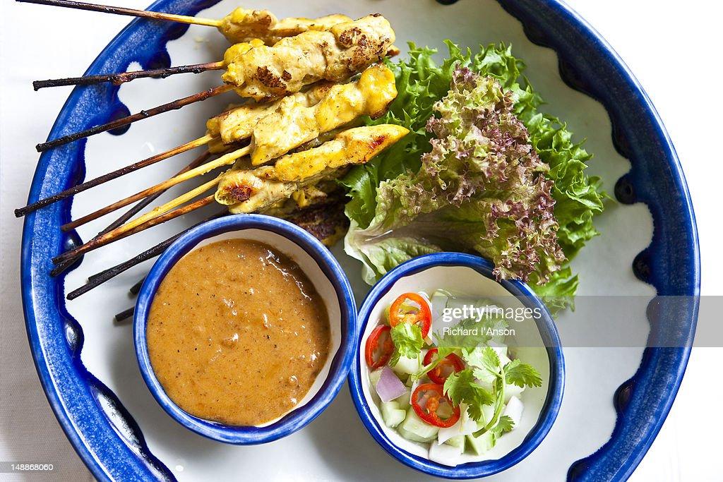 Chicken Satay at Sheraton Hotel on Sukhumvit. : Stock Photo