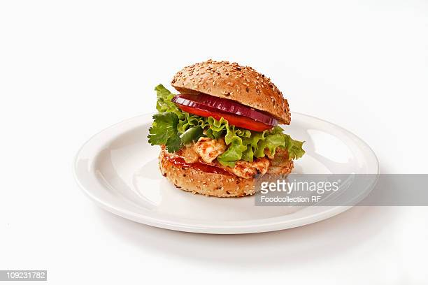 Chicken satay burger on plate against white background, close-up