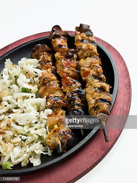Chicken satay with cabbage side salad