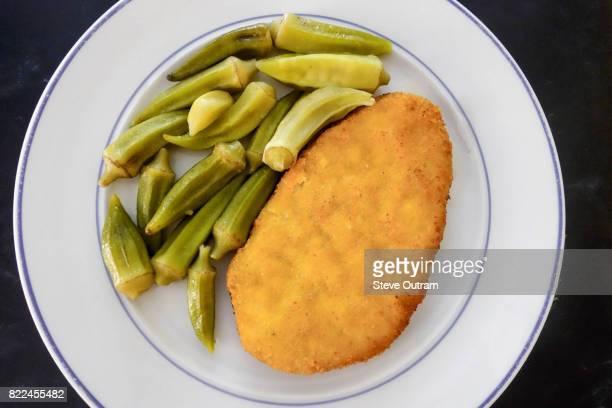 Chicken Schnitzel with Okra