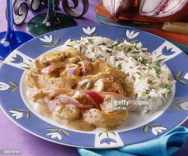Chicken stroganoff with wild rice