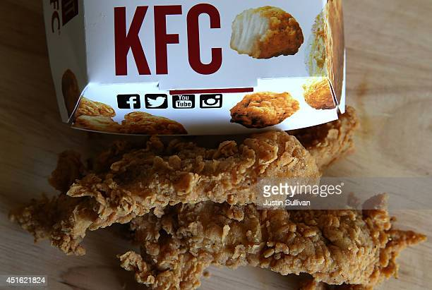 Chicken Tenders sit on a table on July 2 2014 in San Rafael California Fastfood giants McDonald's Taco Bell and KFC all ranked low in a recent...