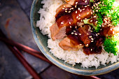 Chicken teriyaki over steamed rice