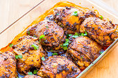 Roasted chicken thigh with herbs.
