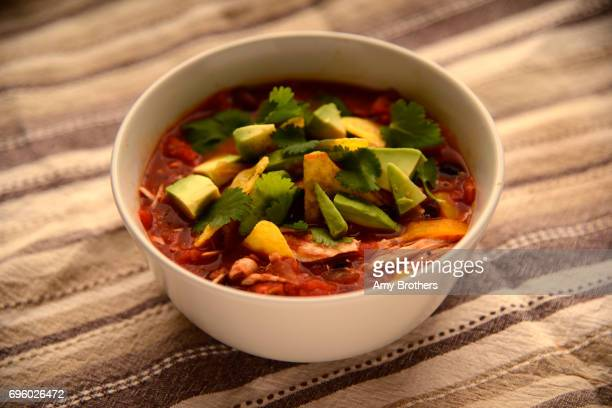 Chicken tortilla soup made by Lee Ann Colacioppo adapted from a Pioneer Woman recipe on February 7 in Denver Colorado