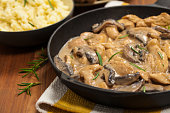 Chicken Stroganoff a variation on Beef Stroganoff. Selective focus.