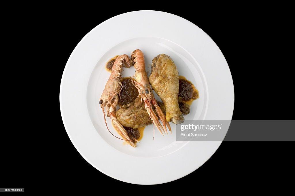 Chicken with prawn : Stock Photo
