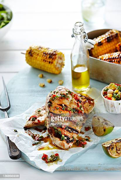 BBQ chicken with sweetcorn