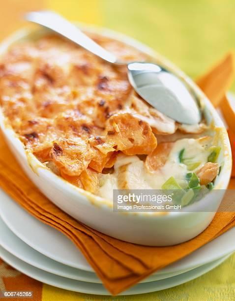 Chicken,carrot and leek gratin