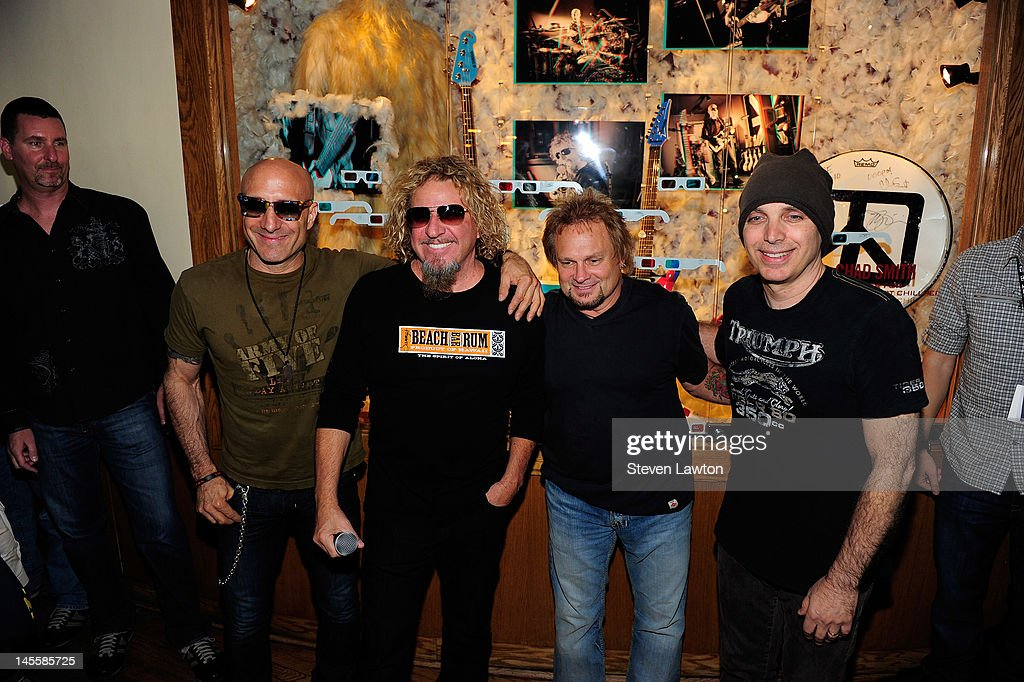 Chickenfoot members <a gi-track='captionPersonalityLinkClicked' href=/galleries/search?phrase=Joe+Satriani&family=editorial&specificpeople=790021 ng-click='$event.stopPropagation()'>Joe Satriani</a>, <a gi-track='captionPersonalityLinkClicked' href=/galleries/search?phrase=Sammy+Hagar&family=editorial&specificpeople=209168 ng-click='$event.stopPropagation()'>Sammy Hagar</a>, <a gi-track='captionPersonalityLinkClicked' href=/galleries/search?phrase=Michael+Anthony&family=editorial&specificpeople=790579 ng-click='$event.stopPropagation()'>Michael Anthony</a> and Kenny Aronoff arrive to open a Chickenfoot dedication case at Hard Rock Hotel and Casino on June 1, 2012 in Las Vegas, Nevada.