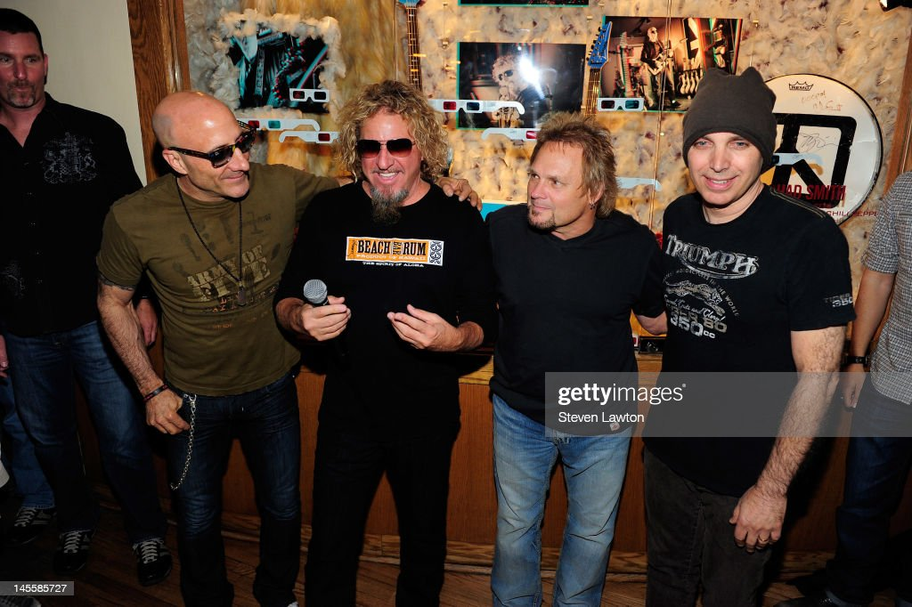 Chickenfoot members (L-R) <a gi-track='captionPersonalityLinkClicked' href=/galleries/search?phrase=Joe+Satriani&family=editorial&specificpeople=790021 ng-click='$event.stopPropagation()'>Joe Satriani</a>, <a gi-track='captionPersonalityLinkClicked' href=/galleries/search?phrase=Sammy+Hagar&family=editorial&specificpeople=209168 ng-click='$event.stopPropagation()'>Sammy Hagar</a>, <a gi-track='captionPersonalityLinkClicked' href=/galleries/search?phrase=Michael+Anthony&family=editorial&specificpeople=790579 ng-click='$event.stopPropagation()'>Michael Anthony</a> and Kenny Aronoff arrive to open a Chickenfoot dedication case at Hard Rock Hotel and Casino on June 1, 2012 in Las Vegas, Nevada.